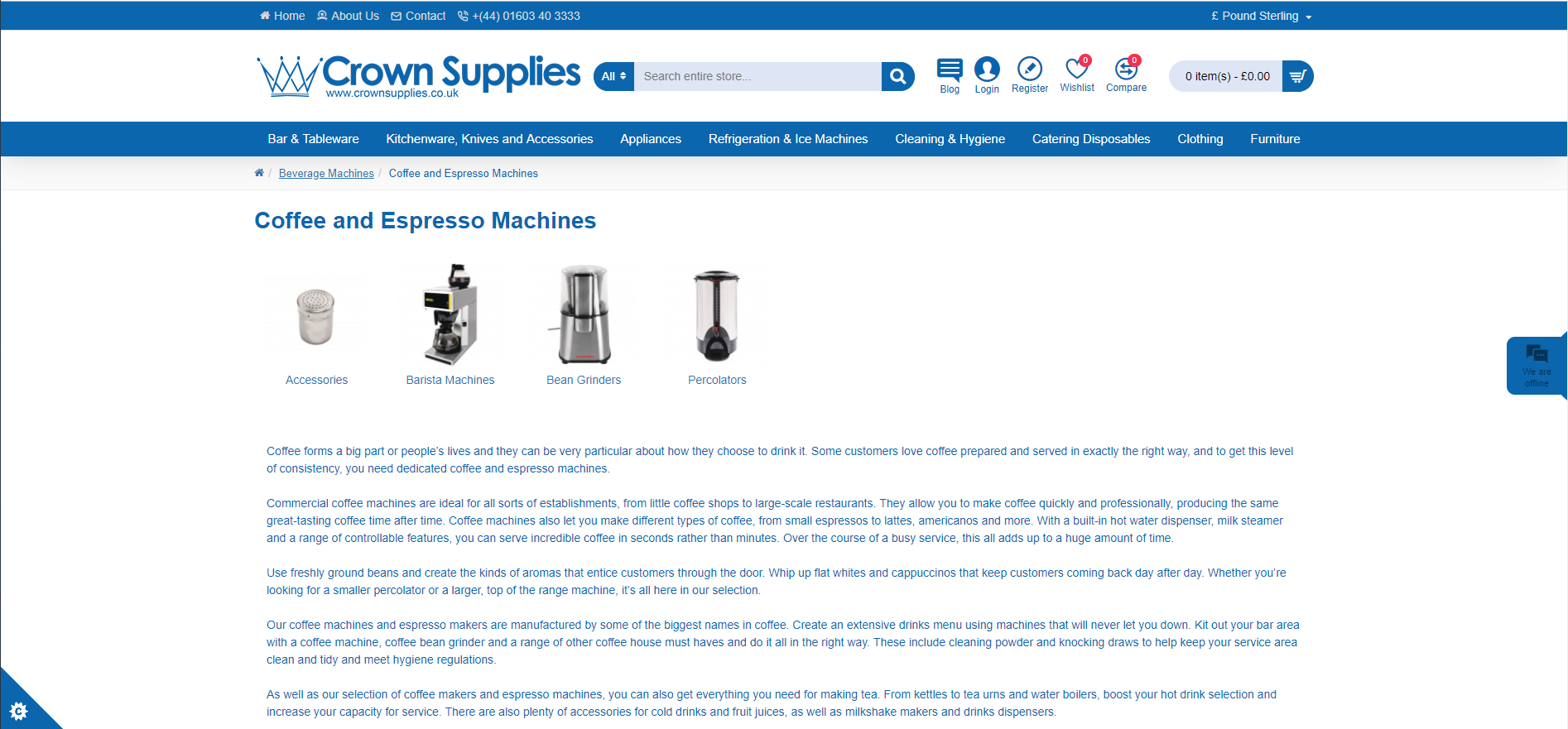 Product descriptions for Crown Supplies