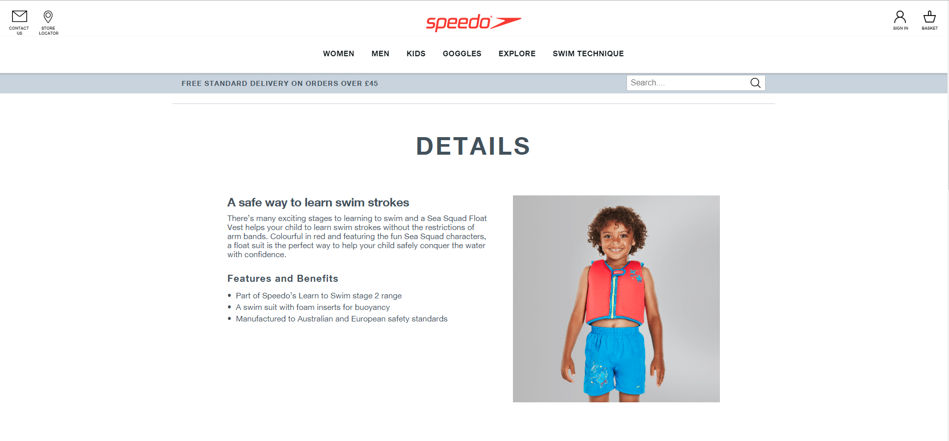 Product descriptions for Speedos